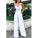 Women's Solid Color Halter Neck Criss Cross Wide Leg Long Pants White Jumpsuits Rompers