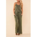 Women's New Striped Printed Scoop Neck Sleeveless Backless Drawstring Wide Leg Pants Jumpsuits