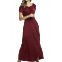 Hot Fashion Solid Color Ruffled Hem Tied Round Neck Short Sleeve Maxi Flared Dress