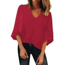 Womens Hot Fashion Solid Color V-Neck Three-Quarter Sleeve Loose Fit T-Shirt
