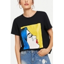 Fashion Crying Girl Print Round Neck Short Sleeve Black Casual Tee