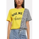 Summer Hot Fashion Letter GIVE ME Plaid Ruffled Patchwork Relaxed Yellow Tee