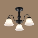 Vintage Style Bell Semi Flush Mount Light 3/5 Lights Metal Ceiling Light in Black for Bedroom