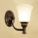 Frosted Glass Bell Shade Wall Lamp Bedroom Foyer 1/2 Lights Antique Style Sconce Light in Black