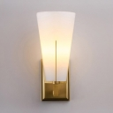 White Shade Wall Light 1 Light Contemporary Metal Glass Sconce Light for Kitchen Bathroom