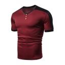 Men's Simple Plain Button Detail V-Neck Patch Short Sleeve Slim Fit Tee