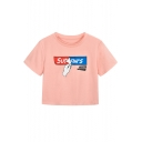 Summer Fashion Unique Gesture Letter Print Round Neck Short Sleeve Pink Cropped Tee