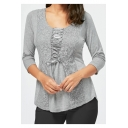 Womens Grey Solid Color Three-Quarter Sleeve Round Neck Lace-Up Front Chic Lace-Panel Fitted T-Shirt