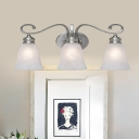 Metal Bell Shade Wall Light Bedroom 3 Lights Traditional Style Sconce Lamp in Nickle