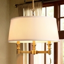 Elegant Style White Pendant Lighting Tapered Shade 3 Lights Fabric Chandelier for Living Room