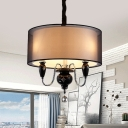 Bedroom Restaurant Round Chandelier Fabric 3 Lights Traditional Style Black Pendant Lamp
