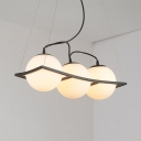 3/5 Lights Globe Pendant Lighting Simple Style Frosted Glass Chandelier in White for Study Room