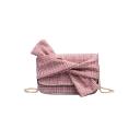 Designer Plaid Pattern Bow-knot Embellishment Crossbody Shoulder Bag 21*7*15 CM