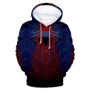 New Trendy Blue and Red Spider Far From Home Long Sleeve Drawstring Hoodie