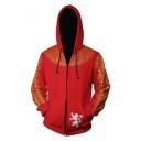 House Lannister Lion Badge Printed Long Sleeve Zip Up Red Hoodie