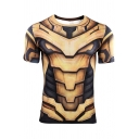 New Trendy Comic Cosplay Cool 3D Printed Basic Round Neck Short Sleeve Yellow T-Shirt