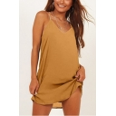Women's Summer Hot Sale Plain Printed V-Neck Sleeveless Mini Cami Dress