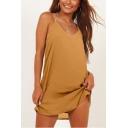 Women's Summer Plain Printed V-Neck Sleeveless Mini Cami Dress