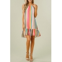 Women's Sleeveless Round Neck Colorful Stripes Printed Peplum Hem Mini Slip Dress
