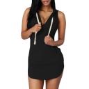 Women's Casual Sleeveless V-Neck Drawstring Mini Slim Fit Hooded Dress