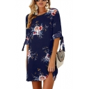 Summer New Style Floral Print Tie 3/4 Sleeve Round Neck Mini Shift Chiffon Dress for Women