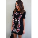 Womens New Trendy Floral Print Round Neck Short Sleeve Mini T-Shirt Black Dress