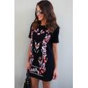Womens New Trendy Floral Print Round Neck Short Sleeve Mini T-Shirt Black Dress