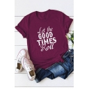 Cool Letter LET THE GOOD TIMES ROLL Print Round Neck Short Sleeve Cotton Loose Tee