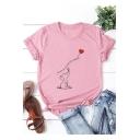 Cute Cartoon Heart Elephant Printed Basic Short Sleeve Cotton Tee