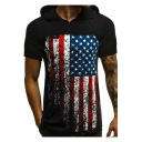 Hot Fashion American Flag Pattern Short Sleeve Hooded T-Shirt for Men