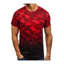 Summer Hot Fashion Ombre Camouflage Pattern Short Sleeve Round Neck T-Shirt for Men