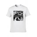 Popular Four House Badge Animal Printed Short Sleeve Basic T-Shirt