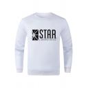 STAR LABORATORIES Print Crewneck Long Sleeve Pullover Sweatshirt