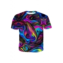 Summer Mens Cool 3D Colorful Line Printed Round Neck Short Sleeve T-Shirt