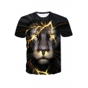 New Trendy Cool 3D Lion Printed Basic Round Neck Short Sleeve T-Shirt