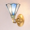 Stained Glass Cone Wall Light Bedroom Single Light Tiffany Style Sconce Light in Blue and White