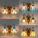 Tiffany Style Dome Wall Light Stained Glass 2 Lights Sconce Light with Mermaid for Bedroom
