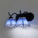 Glass Cone Shade Wall Light 2 Lights Mediterranean Style Sconce Light in Blue for Foyer