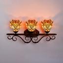 Baroque Dome Shade Wall Light 3 Lights Stained Glass Sconce Light for Living Room Hotel