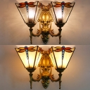 Antique Style Dragonfly Wall Light 2 Lights Stained Glass Sconce Light for Restaurant Hotel