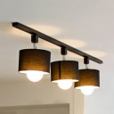 Drum Bedroom Kitchen Track Light Fabric 3 Lights Contemporary LED Ceiling Light in Black/White