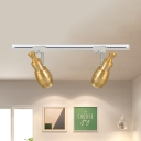High Brightness Restaurant Track Lighting Aluminum 2/3/4 Lights Contemporary Ceiling Light in Gold