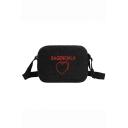 Popular Letter Heart Embroidery Pattern Corduroy Crossbody Bag for Juniors 21*6*15 CM