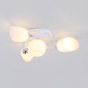 Bedroom Twist Arm Semi Flush Mount Light Frosted Glass 4/6/8 Lights Modern White Ceiling Light