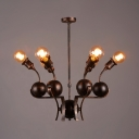 Industrial Copper Chandelier with Metal Ball 7 Lights Ceiling Light for Living Room