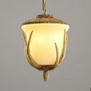 Deer Horn Decoration Pendant Light Resin and Glass Single Light Vintage Style Ceiling Pendant for Bedroom Hallway