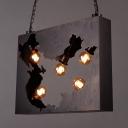 Industrial Rectangle Pendant Light Metal 5 Lights Bronze Chandelier for Restaurant Bar