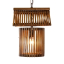 Single Light Cage Shape Pendant Light Bedroom Antique Style Bamboo Ceiling Fixture in Brown