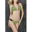 New Stylish Leopard Printed Halter Neck Hollow Out Bikini