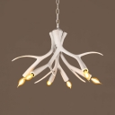 Rustic Style White Chandelier Light with Deer Horn Decoration 6 Lights Resin Hanging Light